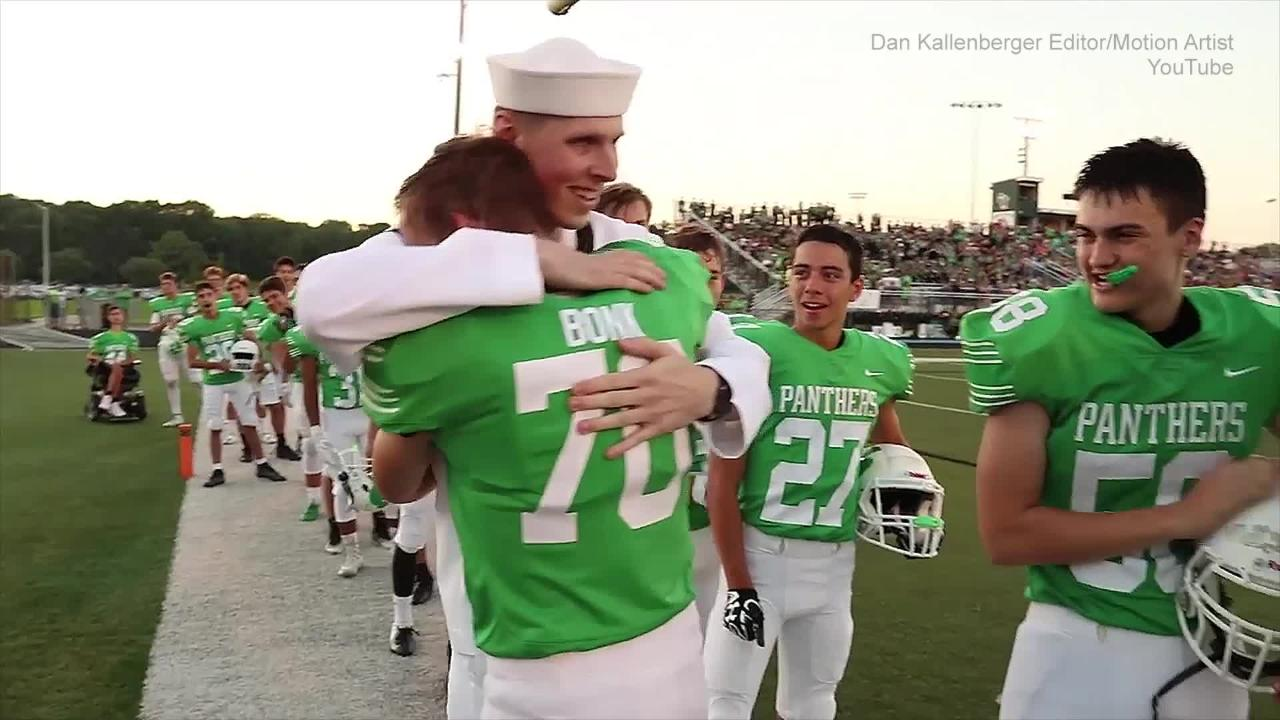 Bonk surprised his brother Noah on the field prior to the start of the Greendale High School football game on Friday night