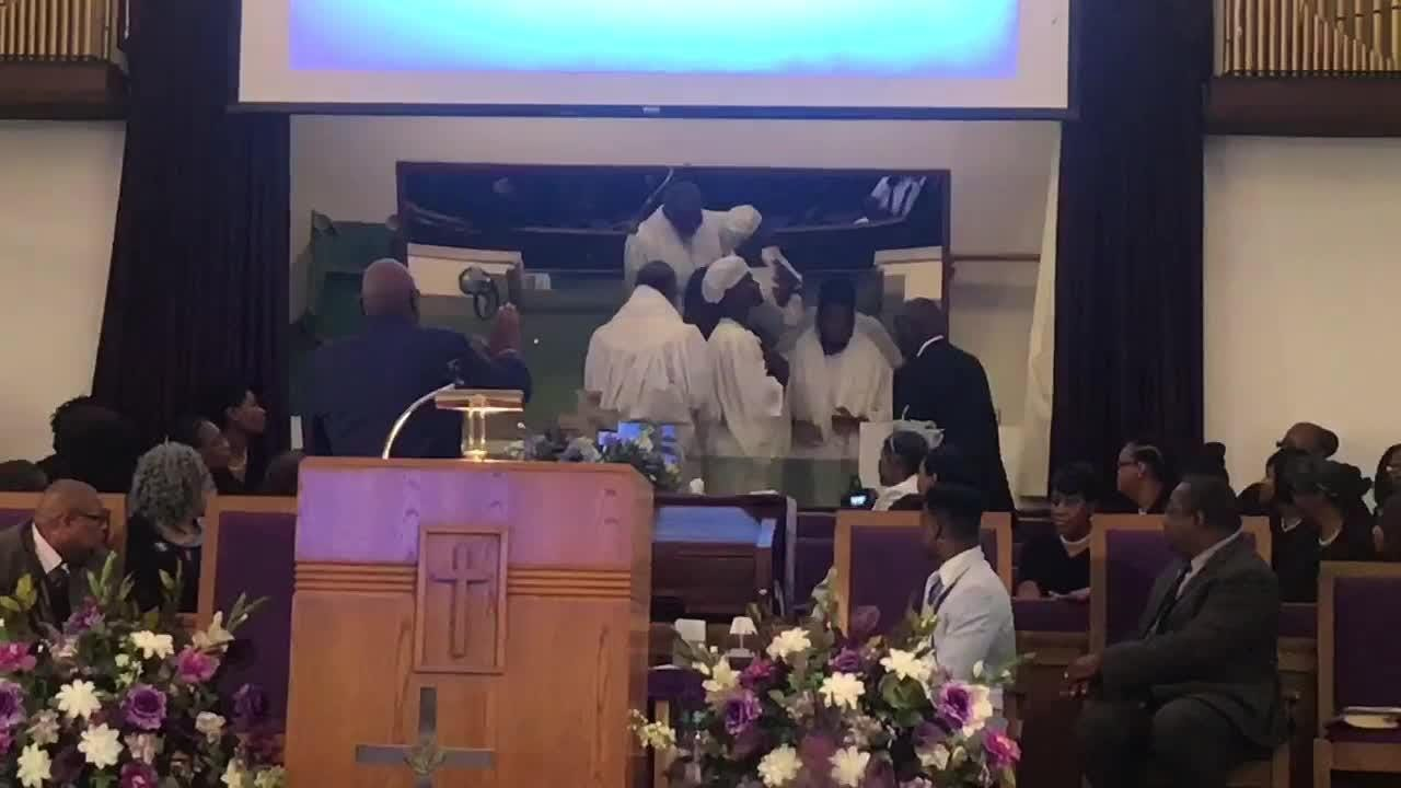 WATCH: Justin Cooks, Antonio Miller, Cameron Covin and Blake Veargis undergo the sacrament of baptism at Bethel Missionary Baptist Church.