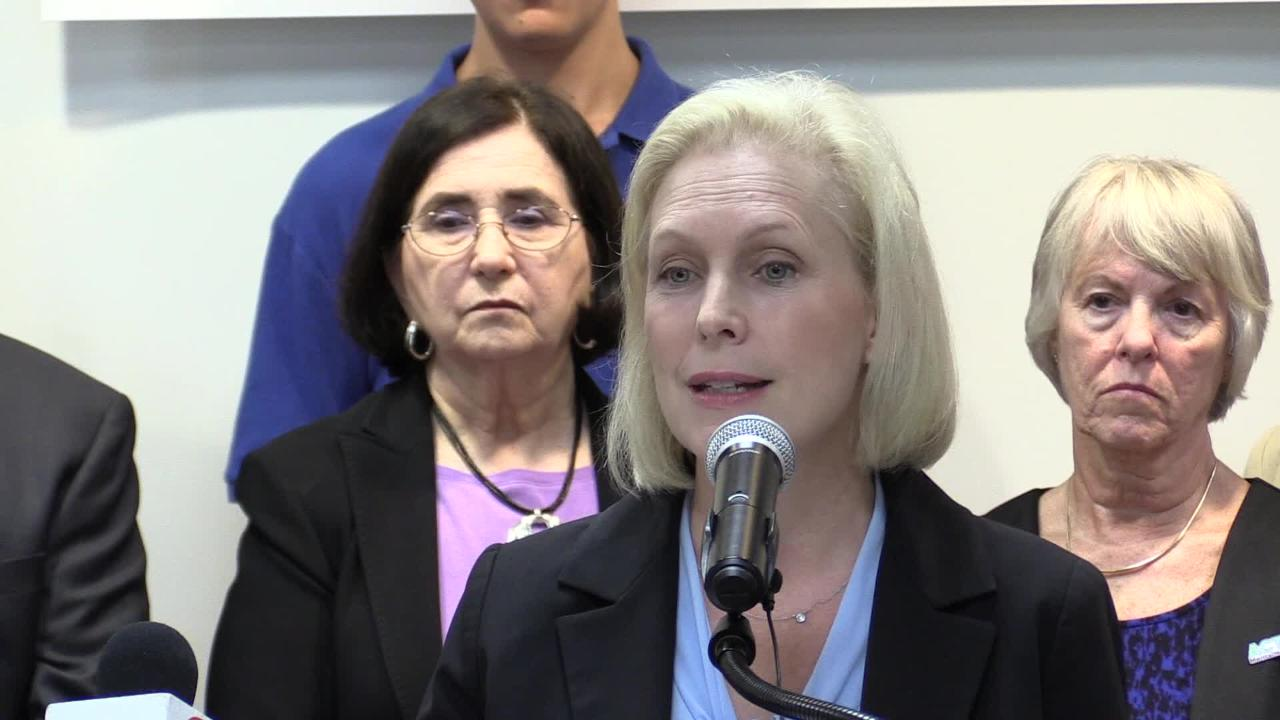 Sen. Kirsten Gillibrand speaks at St. Vincent's Hospital Westchester in Harrison Monday, Sept. 17, 2018. She was there to push for funding to combat the opioid epidemic and support national prescription drug monitoring programs.