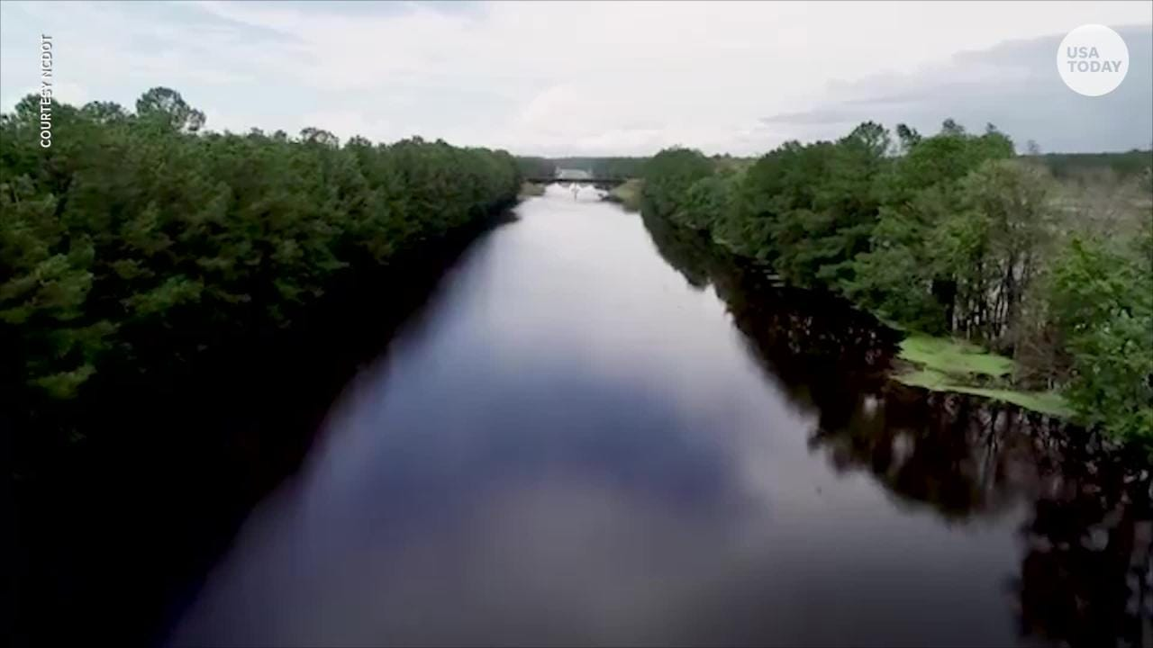 The North Carolina Division of Aviation flew over Interstate 40 to illustrate how dangerous traveling in that area would be. Both sides are completely impassable after Florence brought heavy rain and deep flood waters.