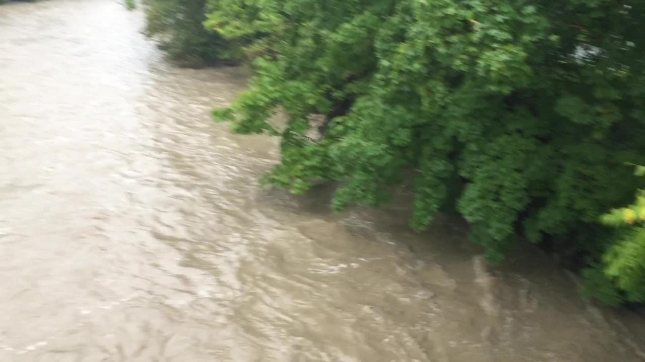 Six Mile Creek swelled up after receiving heavy rain Monday night and Tuesday morning.