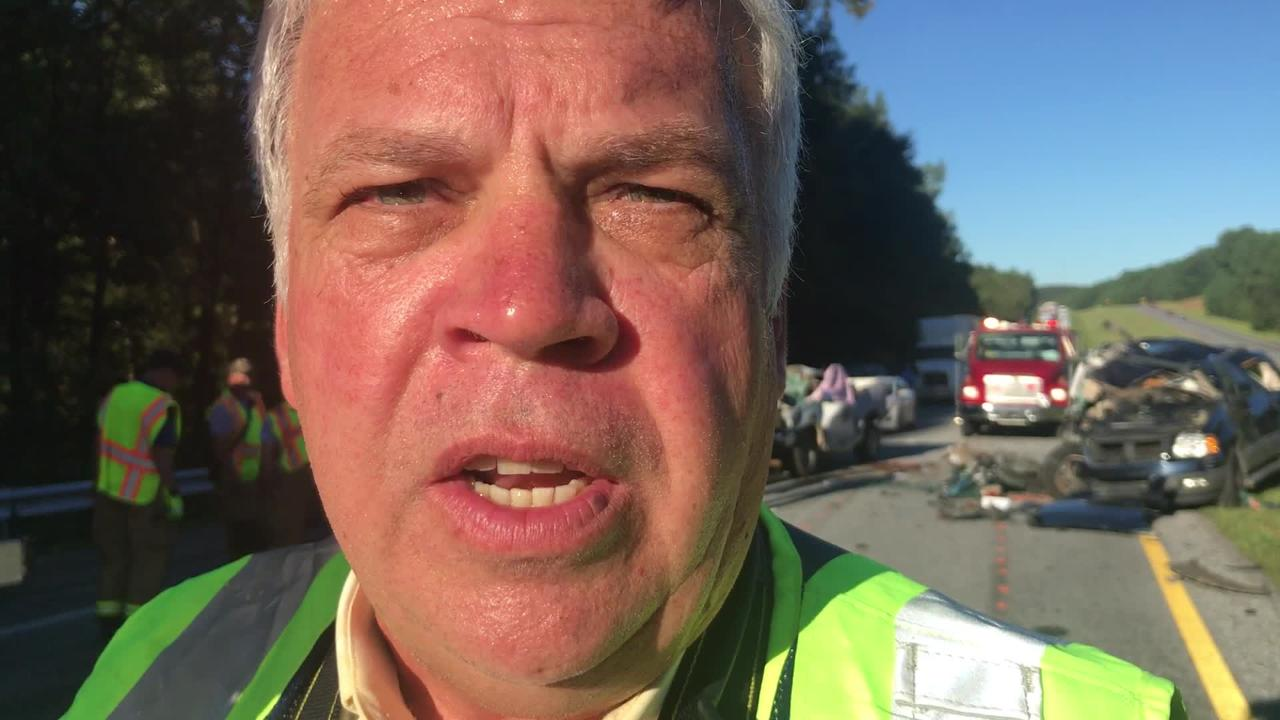 Anderson County Coroner Greg Shore talks about the possible cause of a fatal accident on Interstate 85 on Tuesday, Sept. 18, 2018.