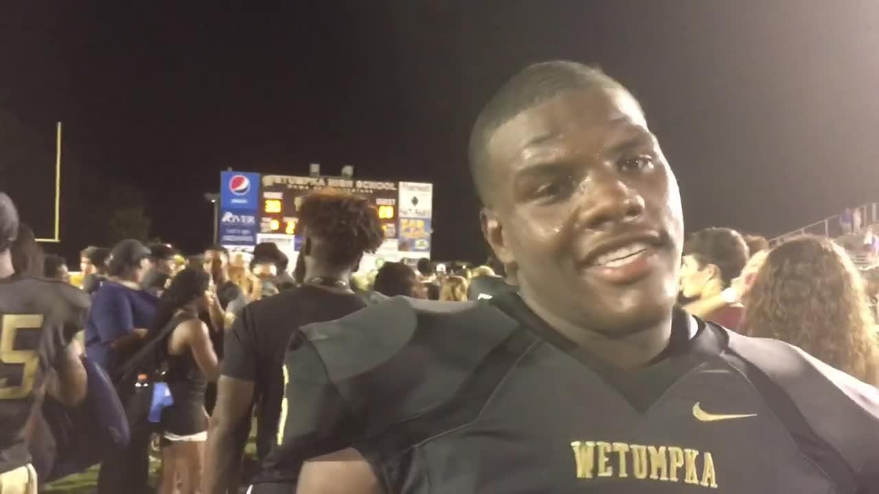 Wetumpka's Tyquan Rawls talks after Friday's 30-28 win over Opelika, the first such win for the Indians in five tries.
