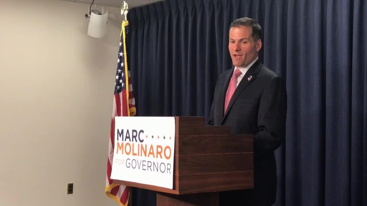Marc Molinaro, the GOP candidate for governor, says Andrew Cuomo is being untruthful when he tries to tie the Republican to President Trump.