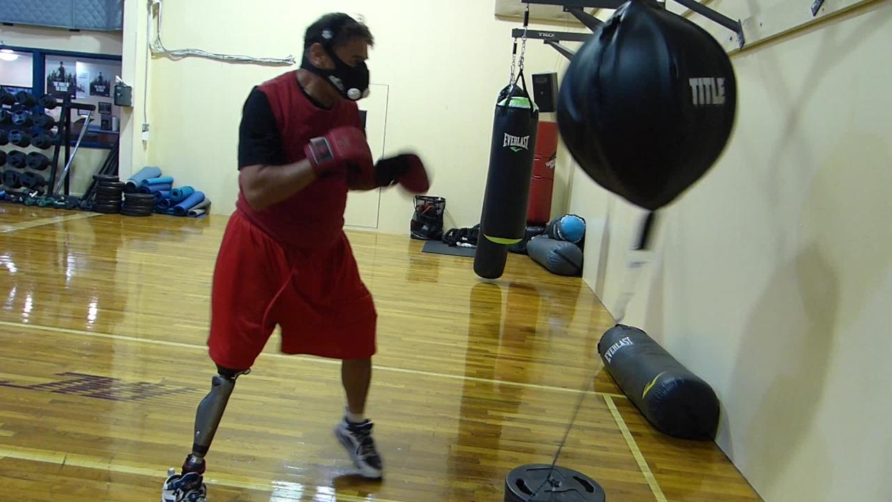 Danny Morlaes, who lost his right leg in an accident, is back in the ring again at age 63 to fight in California