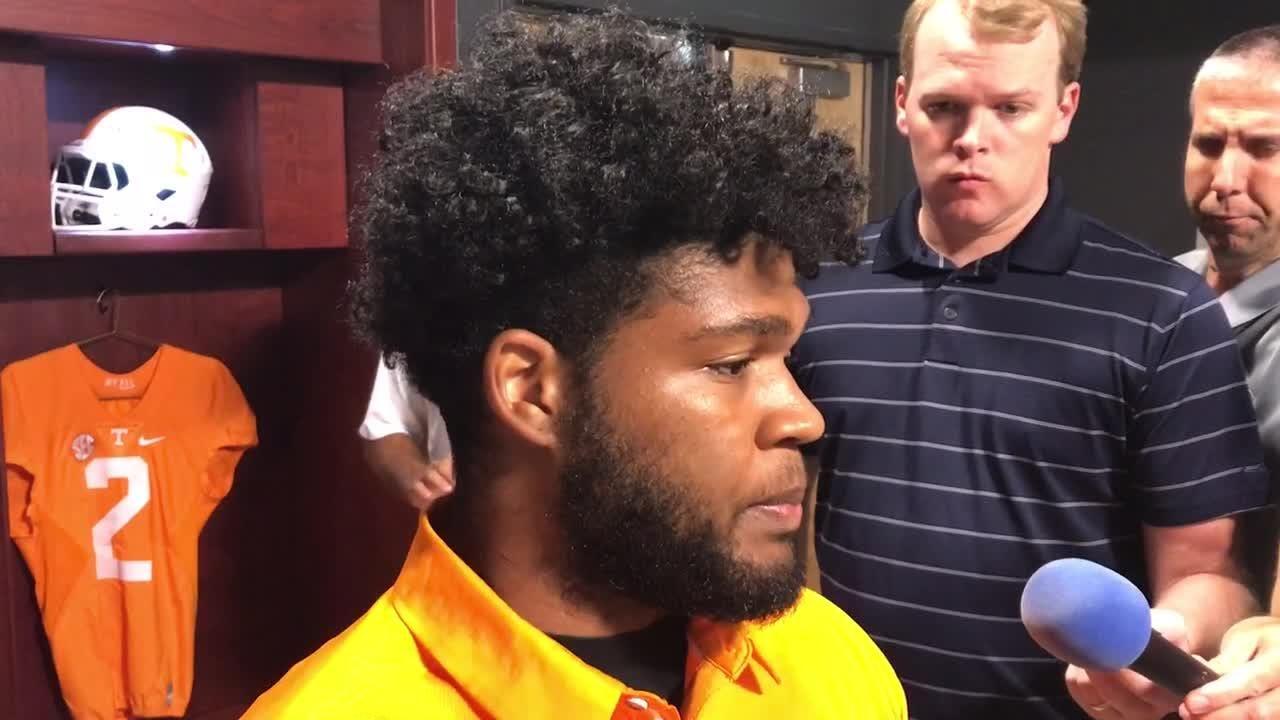 Tennessee linebacker Darrin Kirkland Jr. met with the media Tuesday