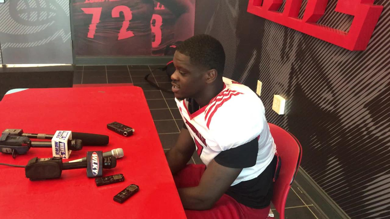Louisville quarterback Malik Cunningham reacts to becoming starter