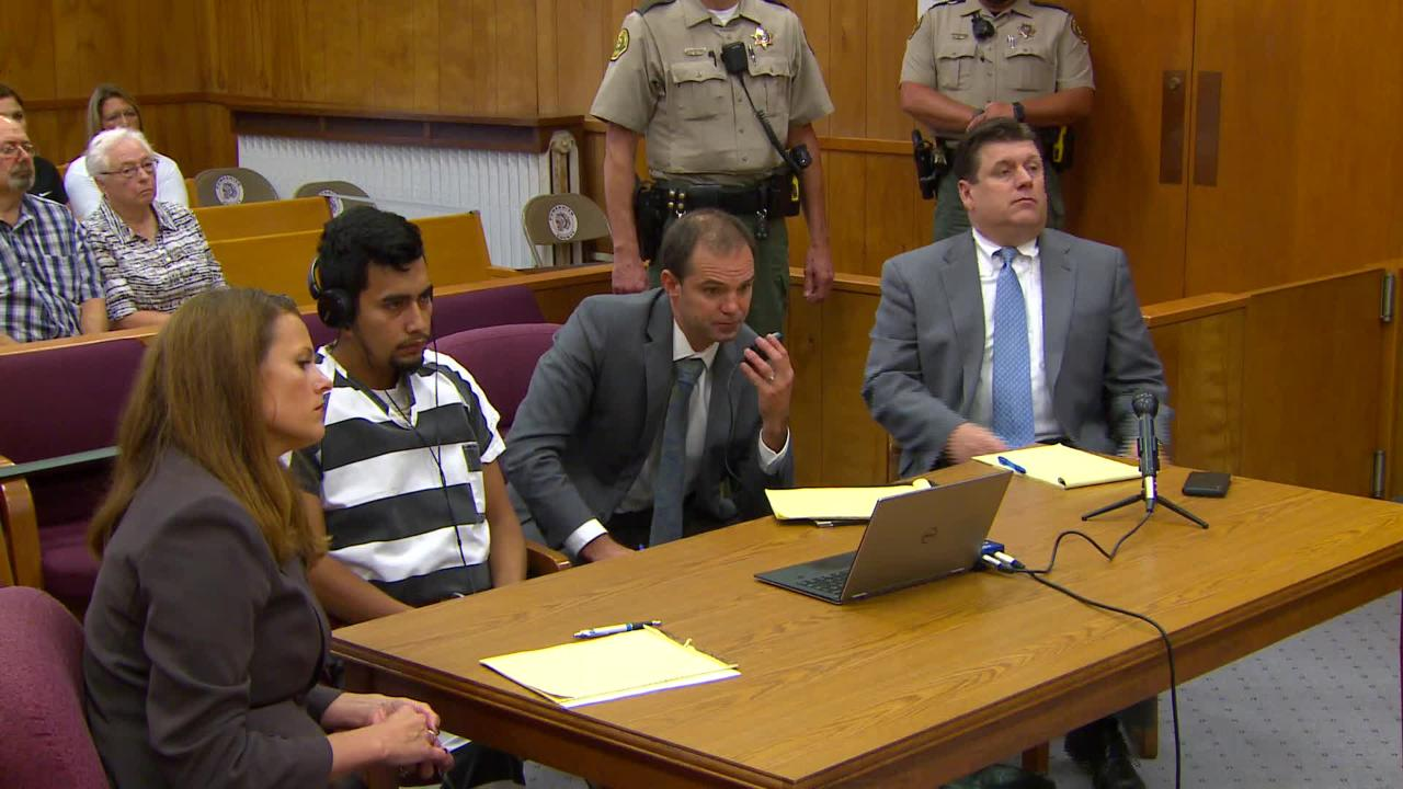 Cristhian Bahena Rivera pleads not guilty in the death of Mollie Tibbetts during his arraignment at the Poweshiek County Courthouse on Wednesday.