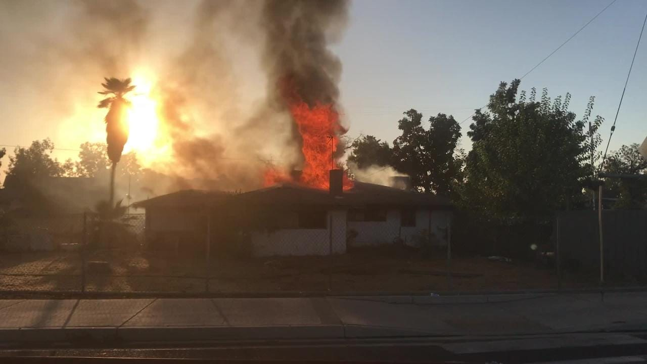 A home in the 500 block of East Houston Avenue caught fire Wednesday morning.