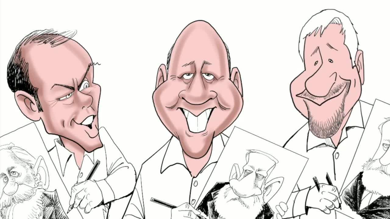 Watch Gary Varvel's time lapse video of drawing award-winning editorial cartoonists Mike Luckovich, Michael Ramirez and himself.