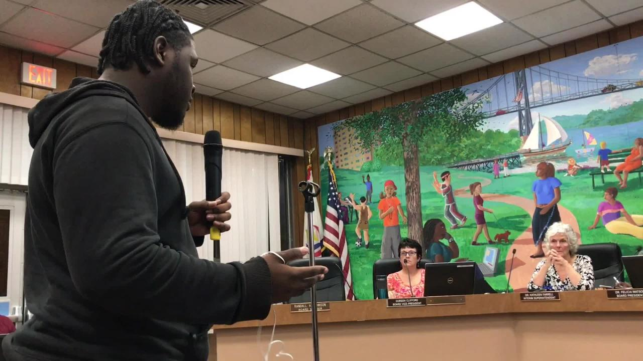 Poughkeepsie High School senior Emmeri Blue-Campbell shares frustration with school board at a meeting on Sept. 17, 2018.
