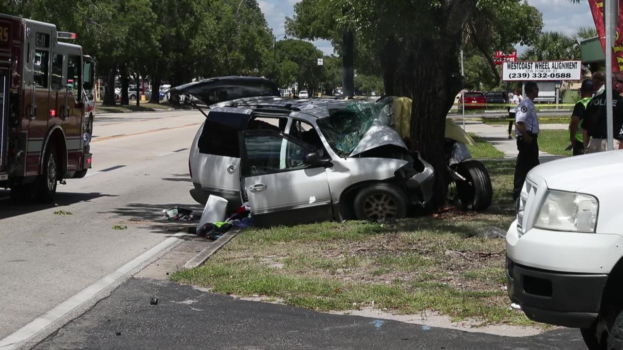 Raw Video: One dead in vehicle crash on Fowler Street in Fort Myers