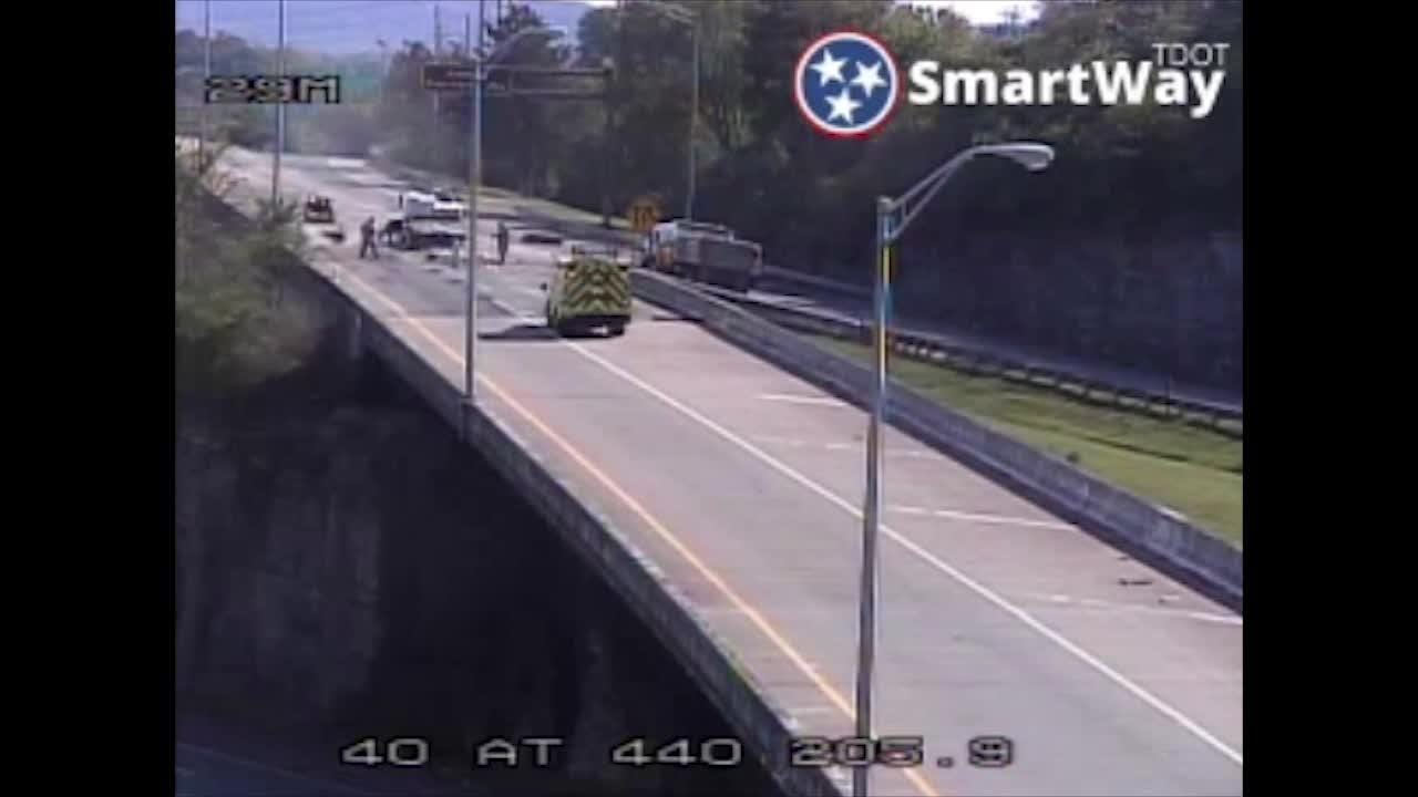 300 gallons of parking lot sealant spilled, causing delays on I-440