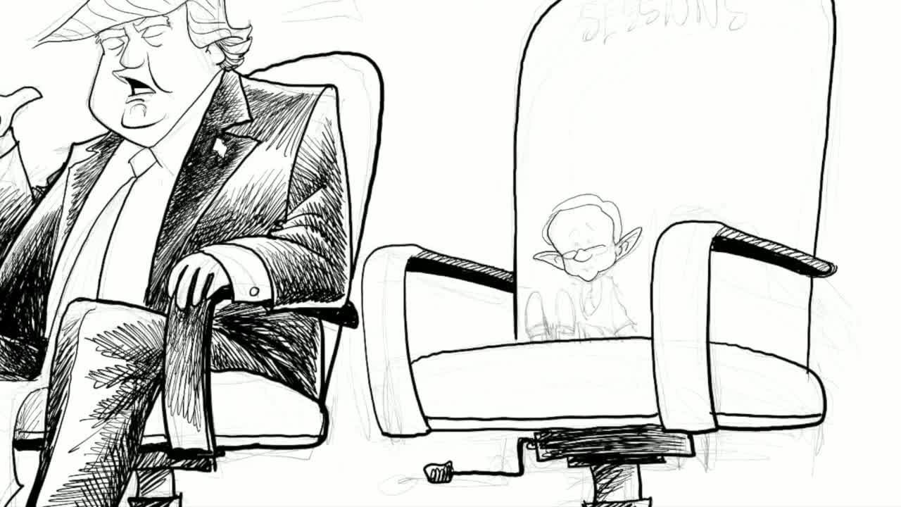 Watch Gary Varvel's time lapse video of the  shrinking Jeff Sessions