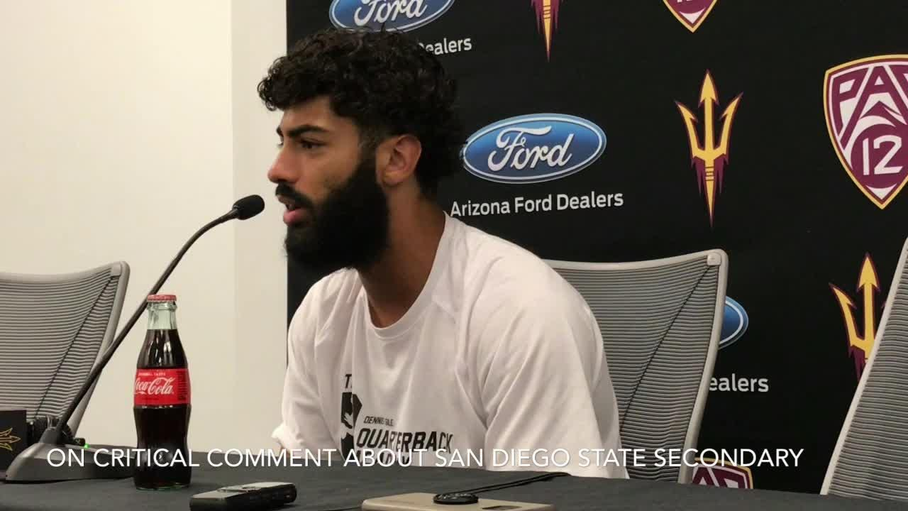 ASU quarterback Manny Wilkins discusses his sideline demeanor on Wednesday.
