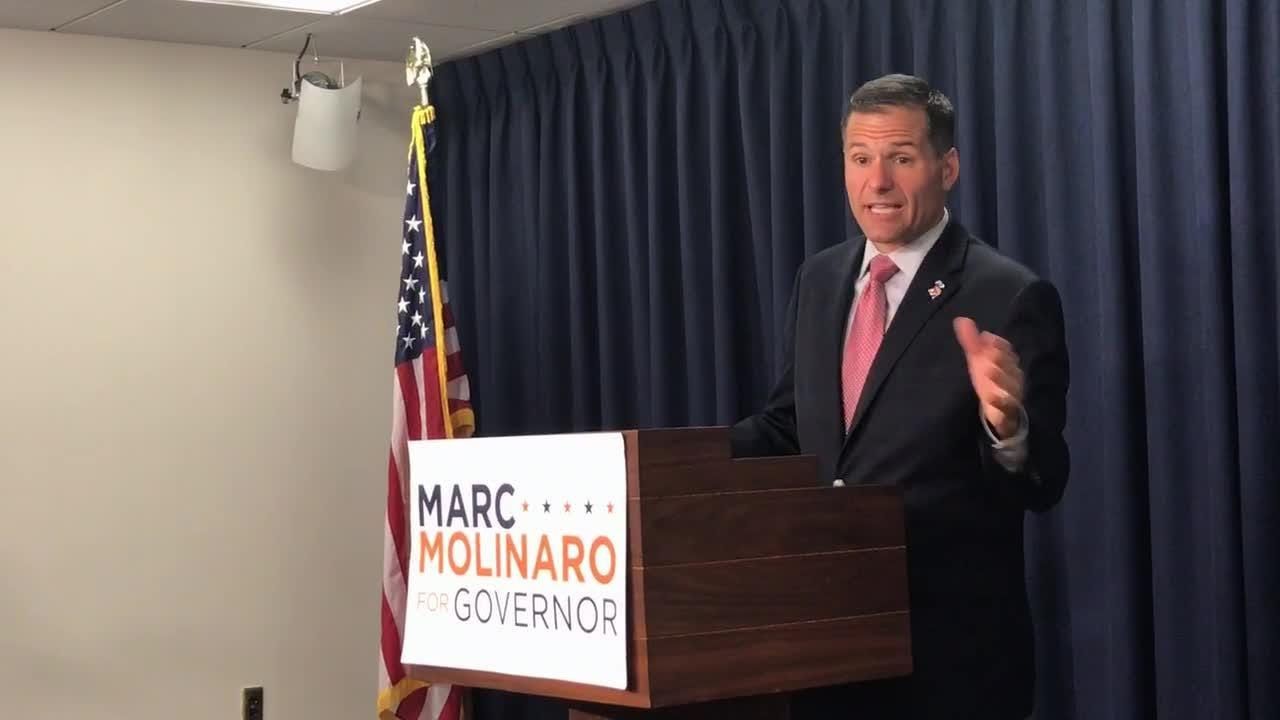 Dutchess County Executive Marc Molinaro, the Republican nominee for governor, speaks during a news conference in Albany on Sept. 18, 2018.