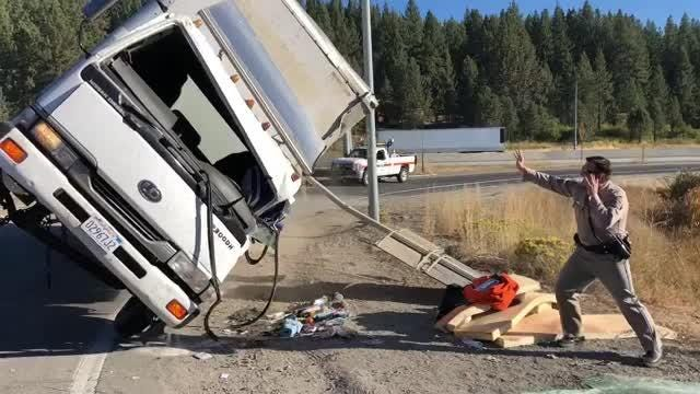 "The Force is strong with CHP Sgt. Eric Strecker as he ""magically"" picks up a truck that hit a sign on an I-80 offramp. Nobody was injured in the Sept. 19, 2018 incident at the Donner Pass offramp, when the truck driver took the exit a little too fast, according to CHP spokesman Officer Pete Mann."