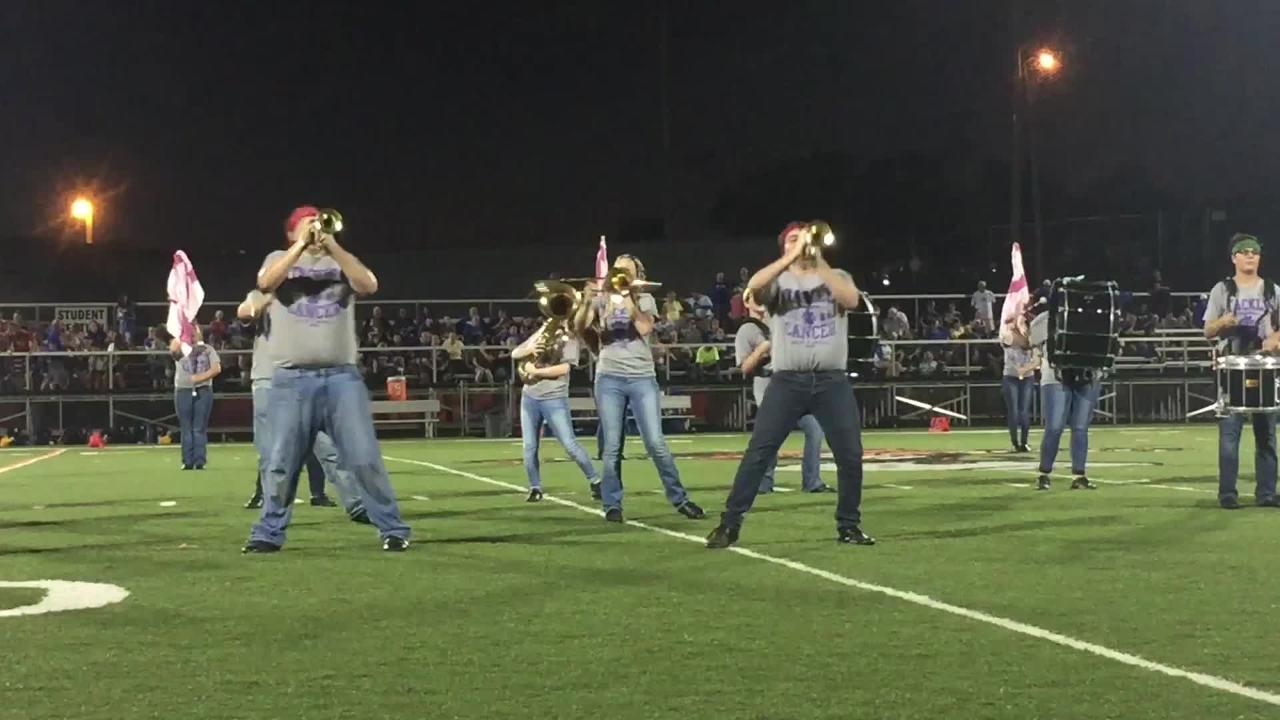 The New Lexington High School marching band performed a piece written by two of it's students recently.