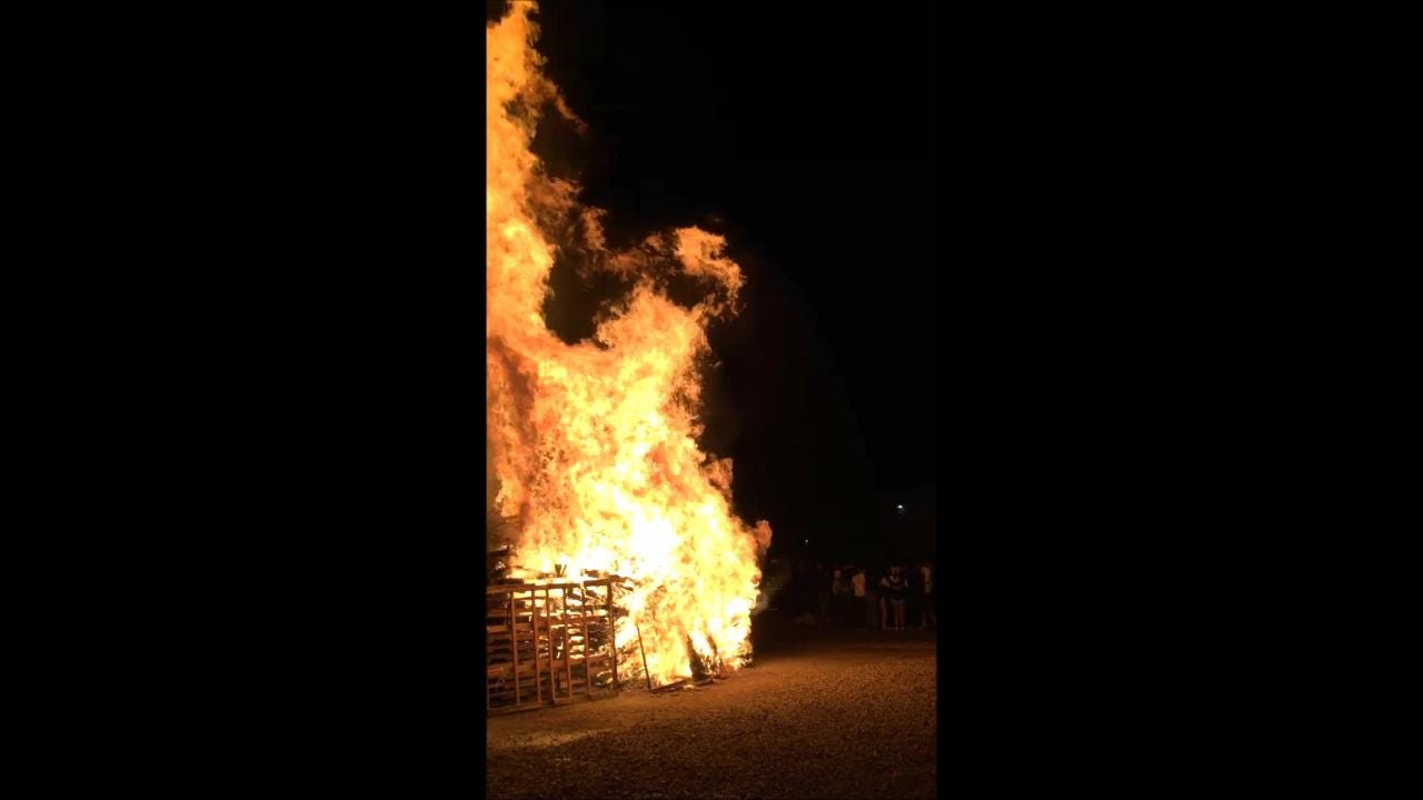 The Warrior homecoming bonfire took down the Tularosa Wildcat effigy. The community, student body and team showed up to support the home team.