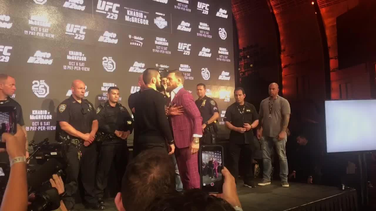 Conor McGregor and Khabib Nurmagomedov square off following their UFC 229 news conference at Radio City Music Hall