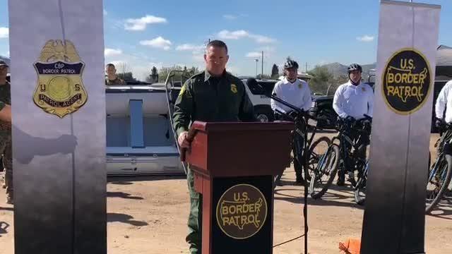 Border Patrol officials speak on  construction of a border wall in El Paso.