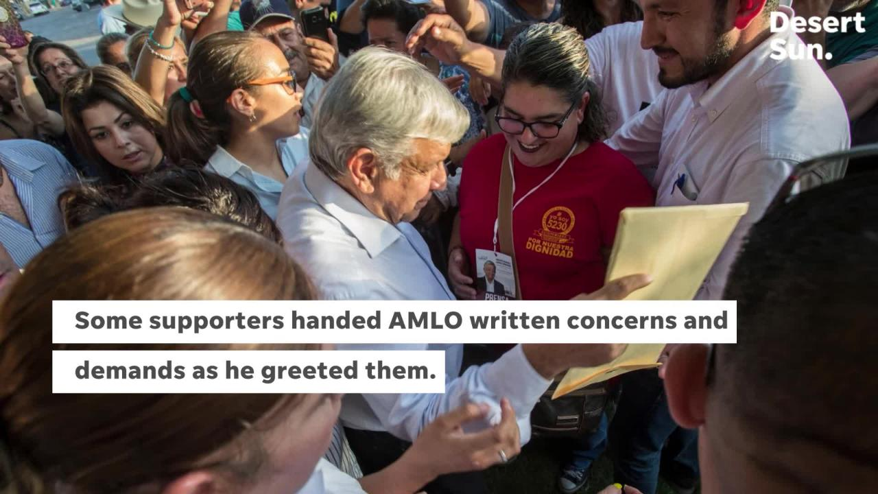 Mexicos's President-elect AMLO visits Mexicali