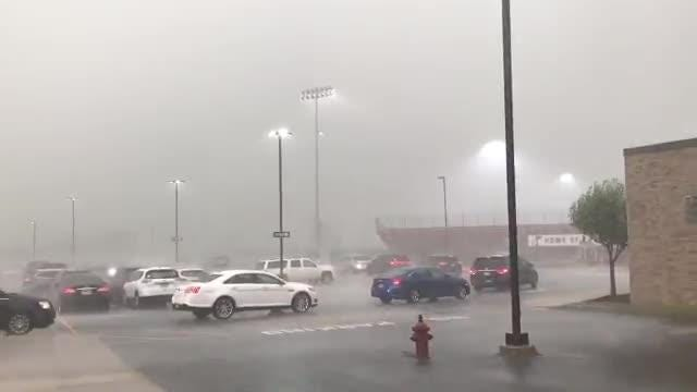 Lightning delayed the Penfield vs Eastridge game. Rain pelted the area and there was a tornado warning.