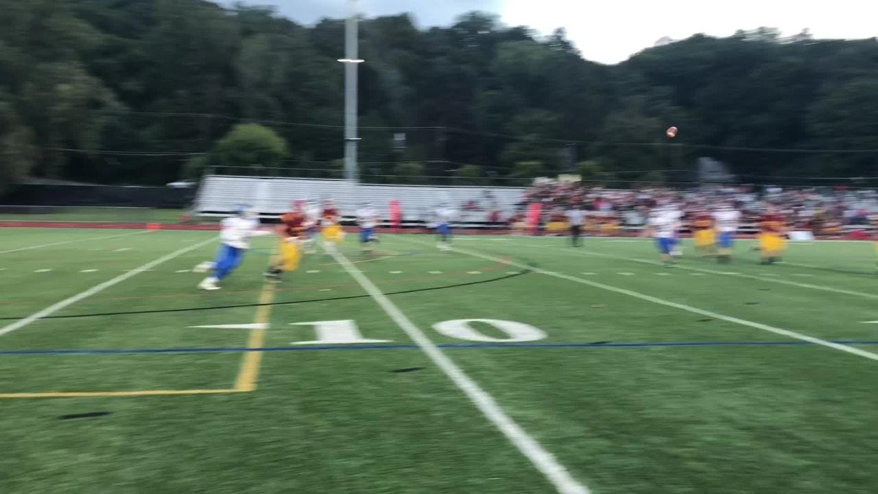See touchdowns from Matt Stasiw, Grayson Woodhouse, Riley Loomis and Michael Jadoski in Horseheads' 42-0 win over Ithaca on Sept. 21, 2018.