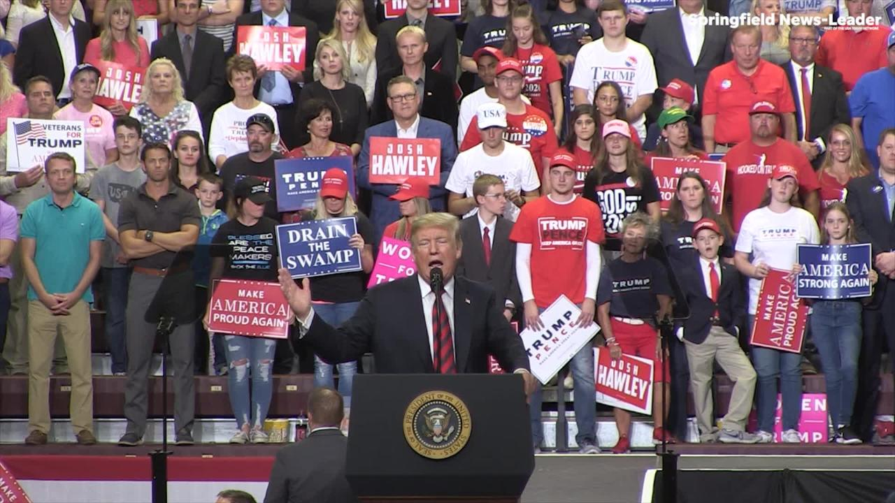 President Donald Trump addresses the Department of Justice and the ongoing tensions between the DOJ and the White House during his speech in Springfield.