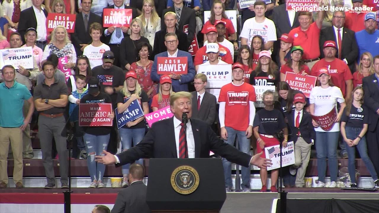 President Donald Trump talks about the Iran deal ahead of his trip to the UN next week during a stop in Springfield.