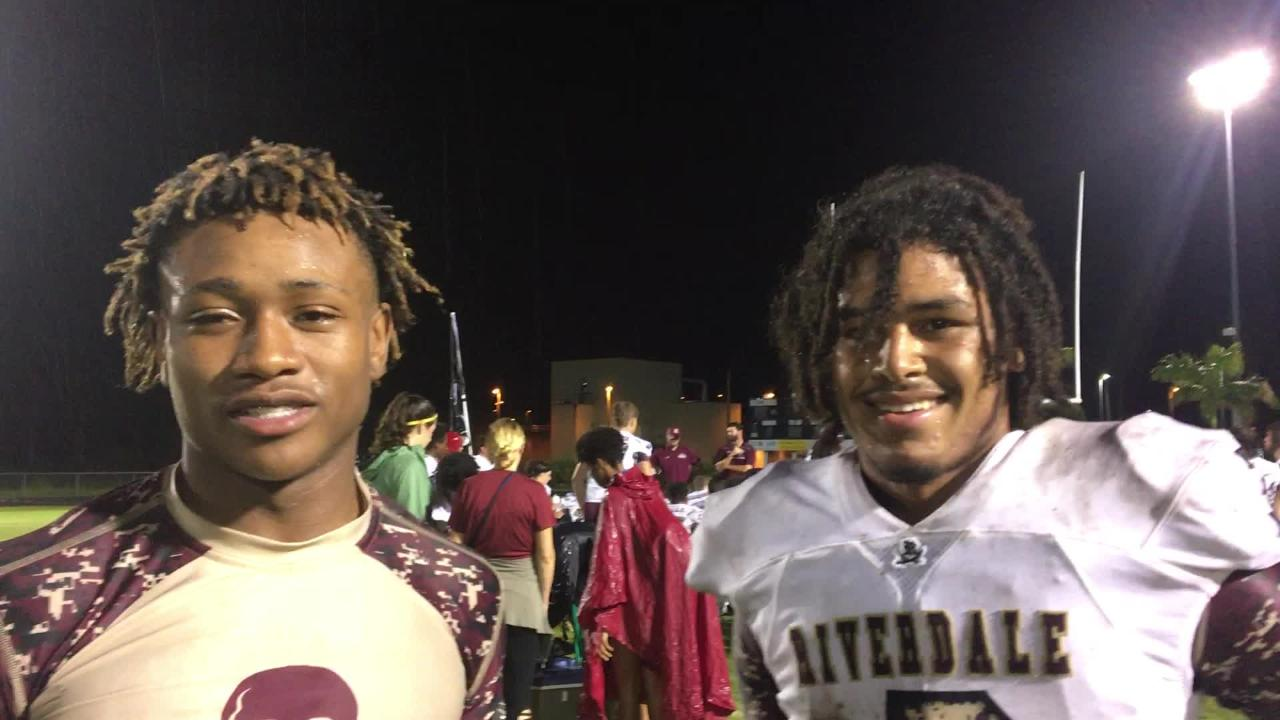 Riverdale's Roy Alexander, left, and Jaylin Cochran talked about their punt return touchdowns.