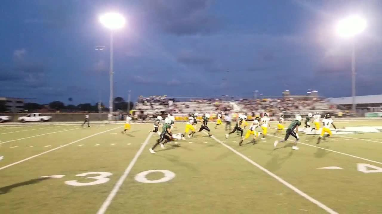 "Merritt Island's Devarius ""Buck"" Mitchell turns nothing into something on this incredible 83-yard return for a touchdown in Friday's win over Melbourne."
