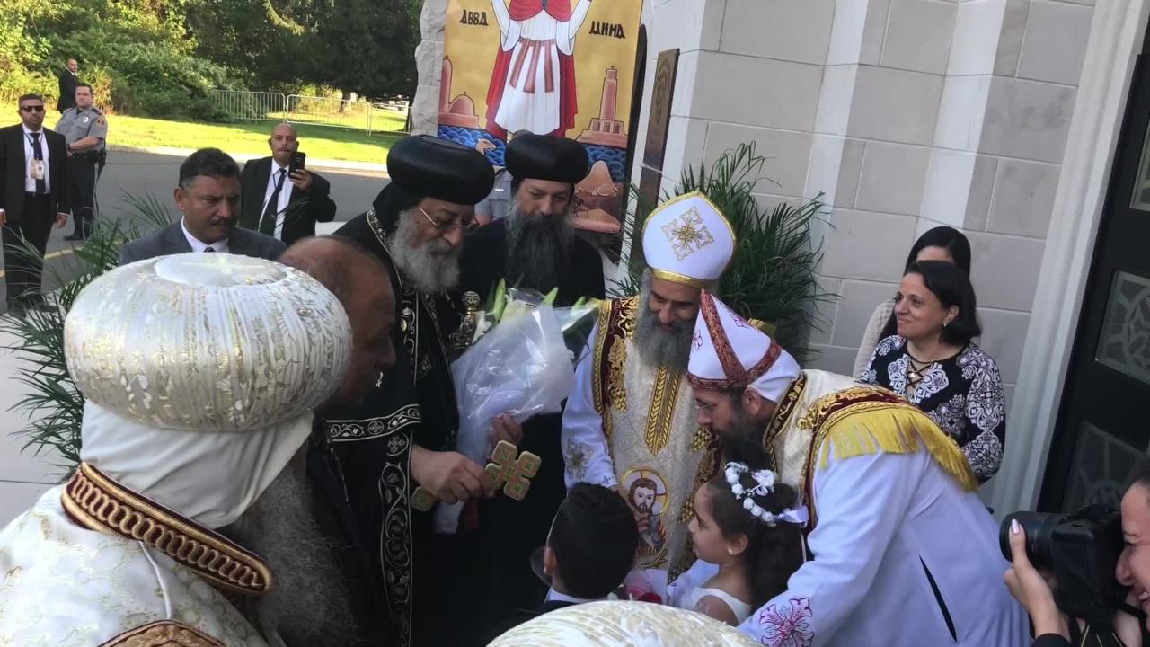 Pope Tawadros II of the Coptic Orthodox Church visited St. Mina's in Holmdel. He'll visit the Archangel Michael church in Howell on Sunday.