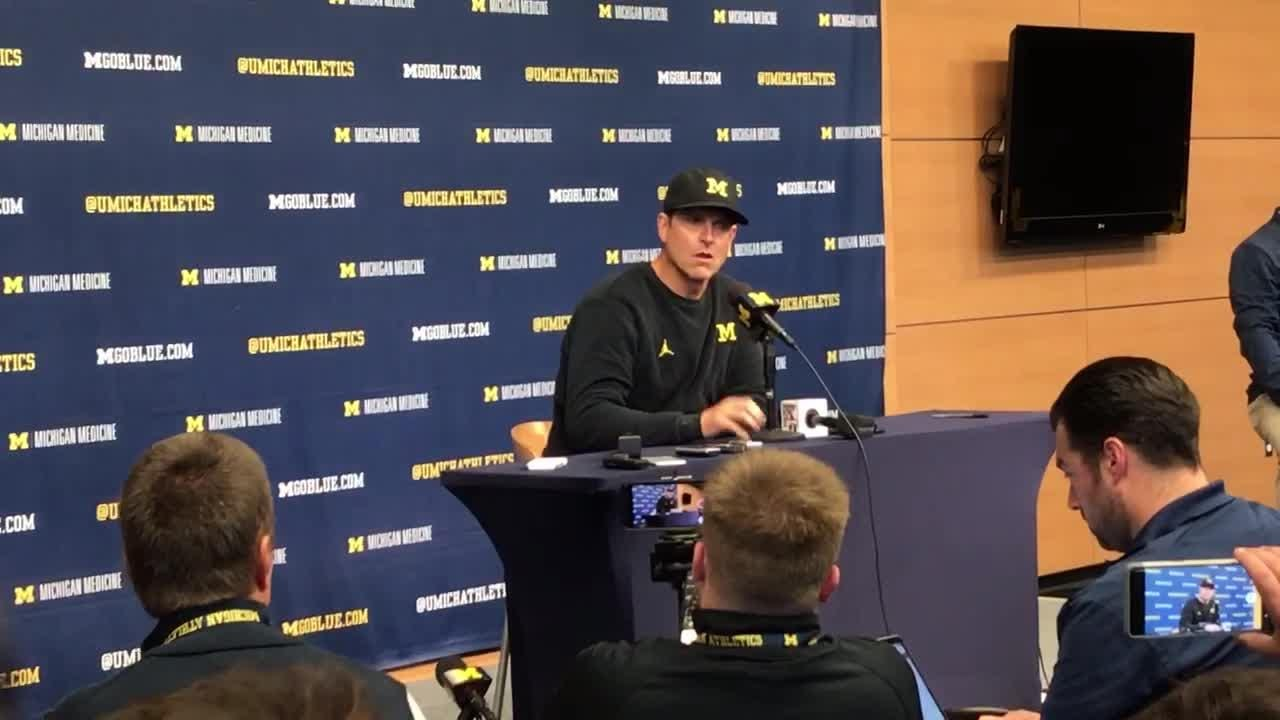 Michigan football coach Jim Harbaugh speaks to the media after the 56-10 win over Nebraska on Saturday, Sept. 22, 2018, in Ann Arbor.