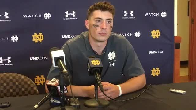 Notre Dame quarterback Ian Book talks about his five-touchdown performance against Wake Forest.