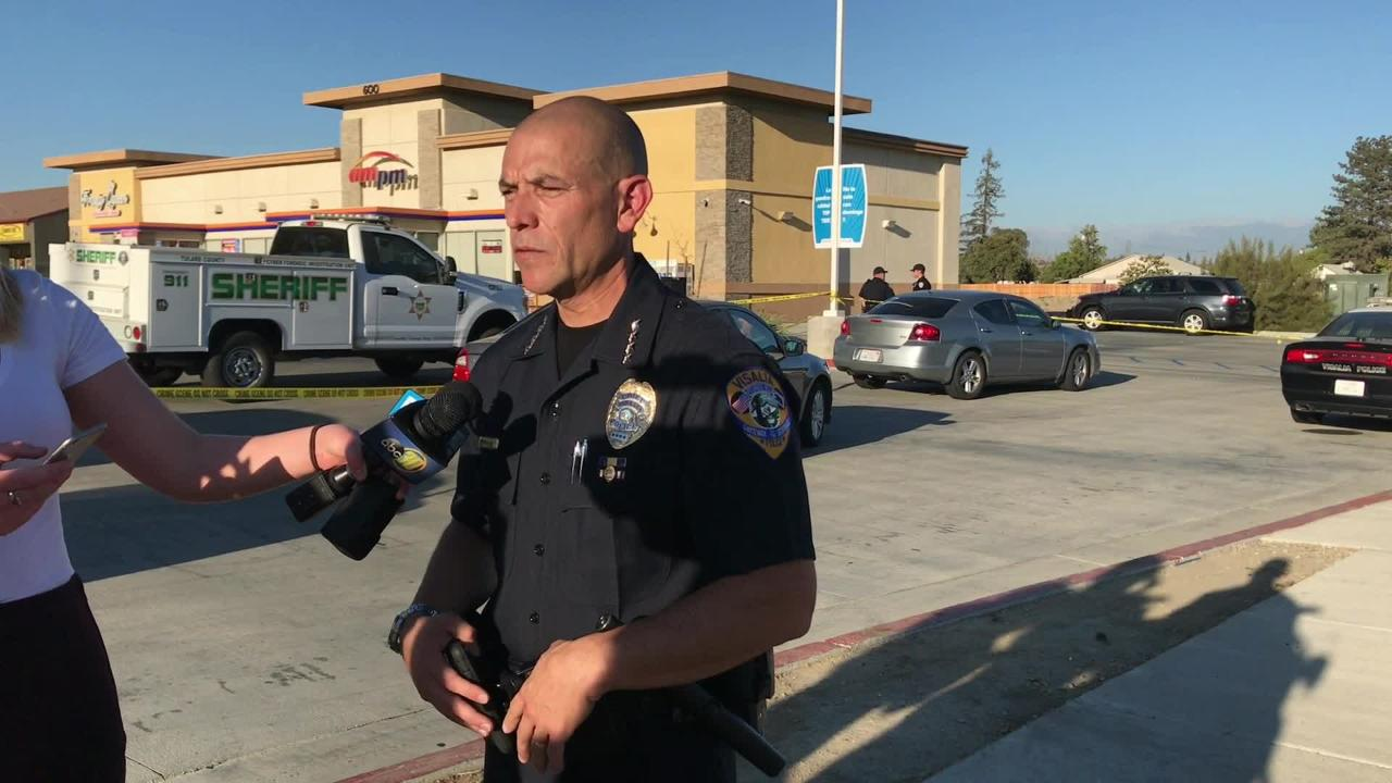 Two Visalia officers shot a suspected robber who opened fire on officers just after 3:30 p.m.