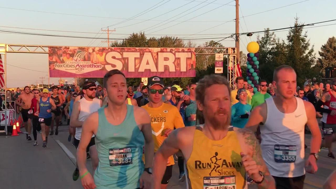 Runners took off from UW-Fox Valley on a cool, clear morning.