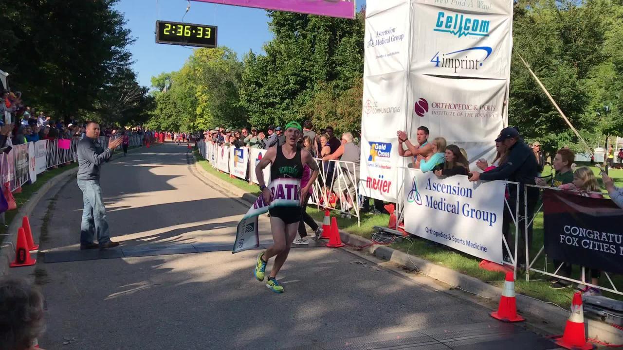 Watch as Scott Weispfennig wins the Community First Fox Cities Marathon.