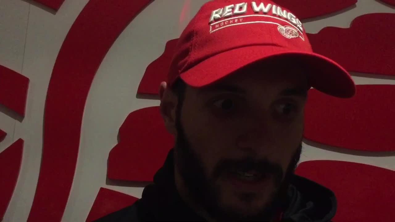Martin Frk on how he is running out of time to earn a job with Detroit Red Wings. Sept. 24, 2018, Little Caesars Arena.