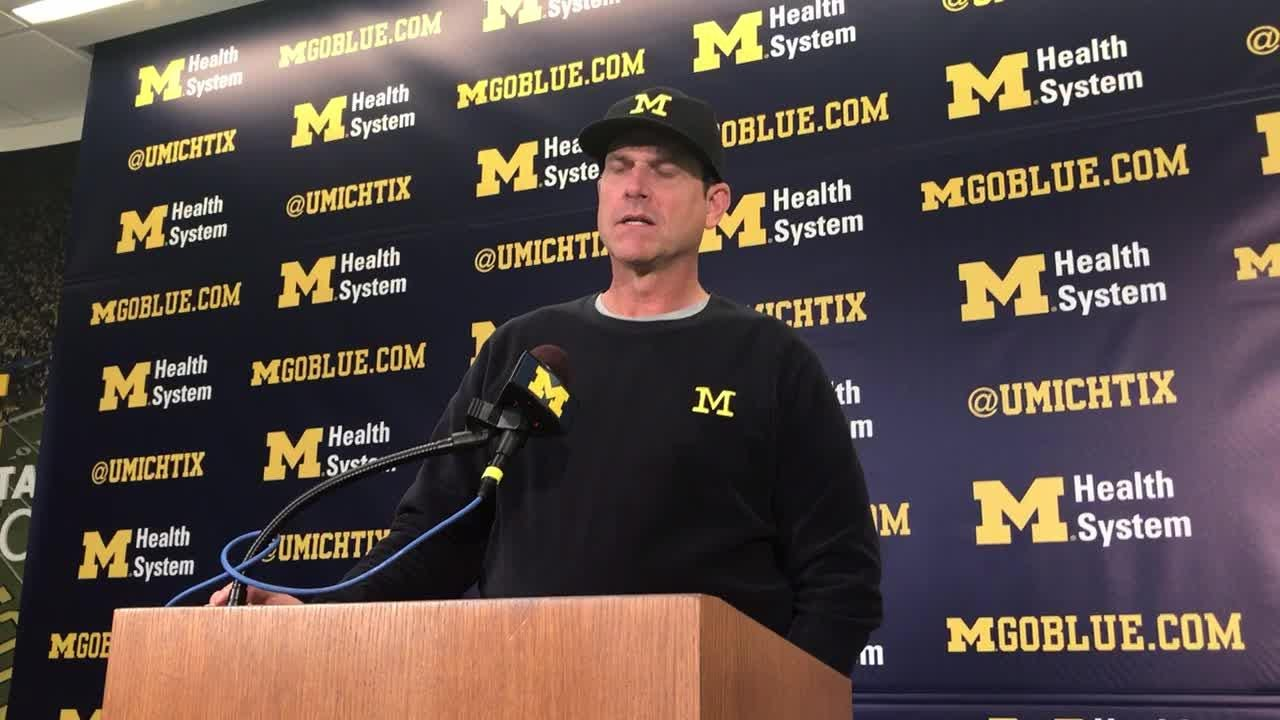 Michigan football coach Jim Harbaugh meets with the media in Ann Arbor on Monday, Sept. 24, 2-018.