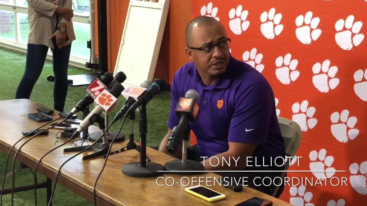 Clemson co-offensive coordinator Tony Elliott discusses the decision to start Trevor Lawrence over Kelly Bryant.