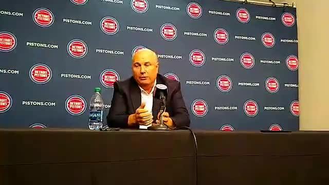 Detroit Pistons senior adviser Ed Stefanski speaks to the media on Monday, Sept. 24, 2018, at Little Caesars Arena.