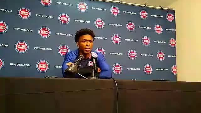 Detroit Pistons forward Stanley Johnson speaks to the media on Monday, Sept. 24, 2018, at Little Caesars Arena.