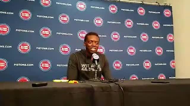 Detroit Pistons guard Reggie Jackson speaks to the media on Monday, Sept. 24, 2018, at Little Caesars Arena.