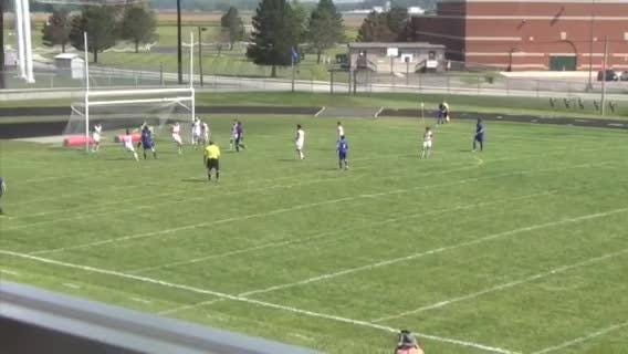Cam Sanford  of Union County heads in a goal off a corner kick