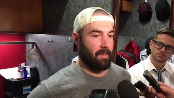 Diamondbacks starter Robbie Ray talks about his performance in a loss to the Dodgers on Monday.