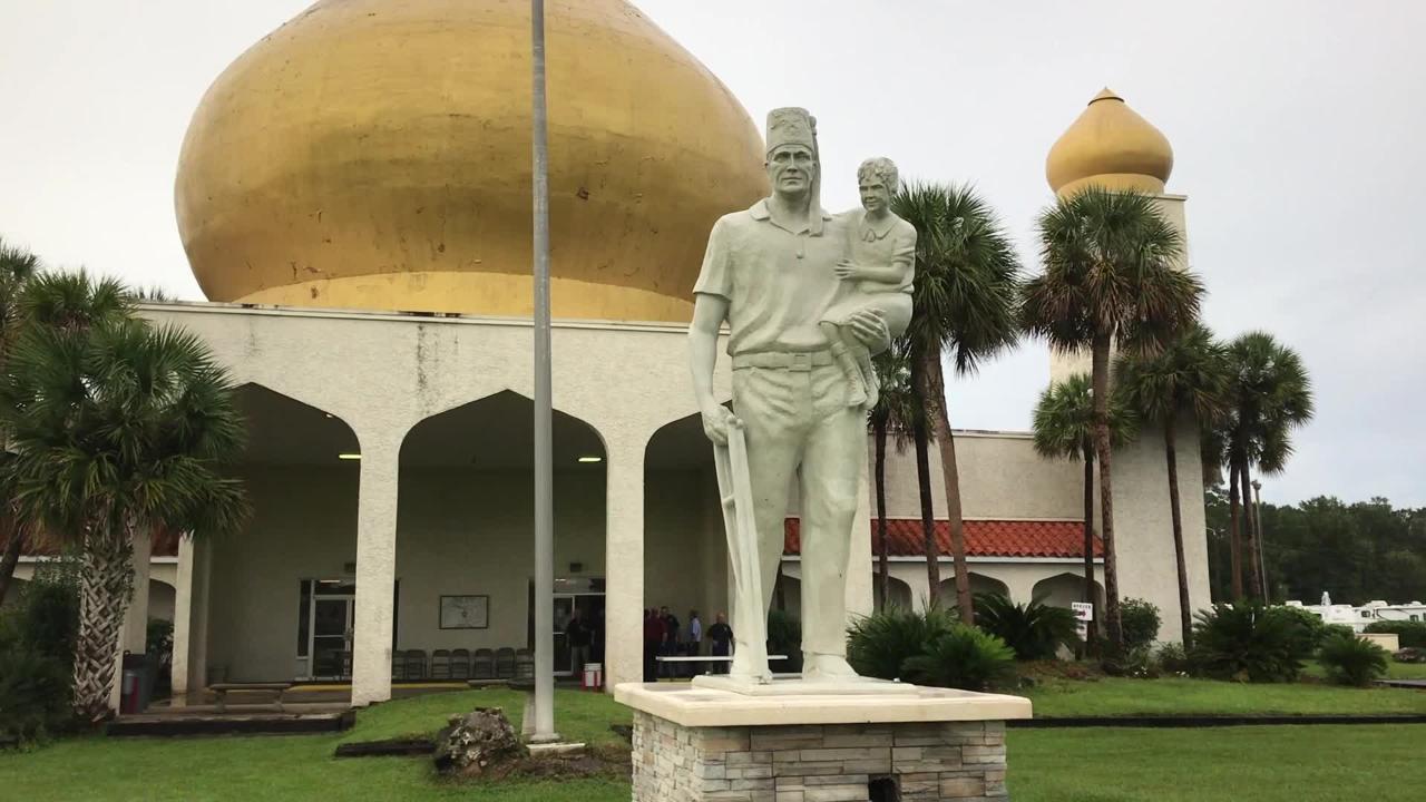 "Pensacola's Hadji Shrine Temple on Monday dedicated a 15-foot statue titled ""Silent Messenger."""