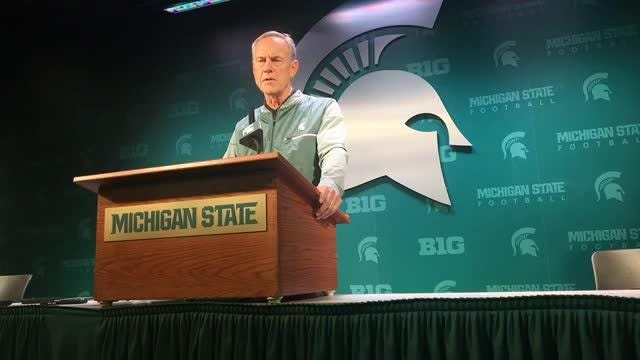 Michigan State coach mark Dantonio speaks to the media on Tuesday, Sept. 25, 2018, in East Lansing.