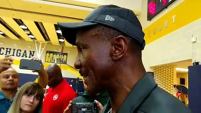Detroit Pistons coach Dwane Casey speaks to the media after the teams' first practice of training camp in Ann Arbor on Tuesday, Sept. 25, 2018.