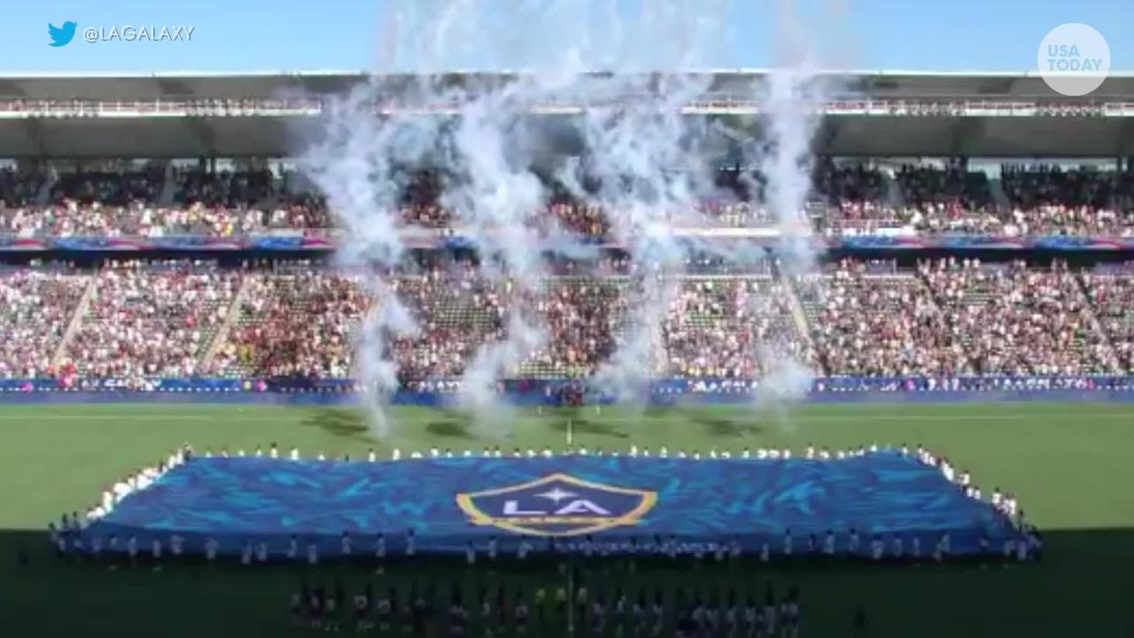 Malea Emma Tjandrawidjaja stole the show at an MLS match between the LA Galaxy and Seattle Sounders with a rousing rendition of the national anthem.